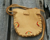 Beaded medicine bag Buckskin leather medicine pouch Beaded drawstring bag