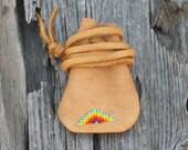 Beaded medicine bag , Leather medicine pouch , Amulet bag , Necklace bag