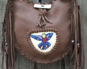 Leather handbag tote ,   Beaded hummingbird purse ,  Crossbody bag ,  Fringed leather tote , Leather handbag