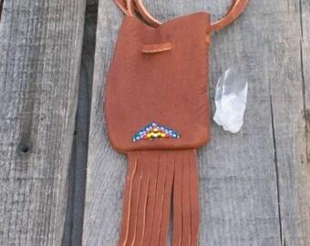 Tribal neckbag , Beaded leather medicine pouch , Fringed medicine bag necklace