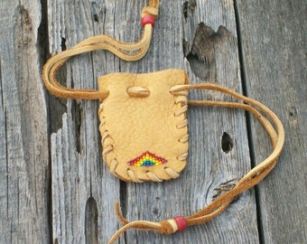 Beaded leather pouch , Drawstring medicine bag , Rainbow bead work , Small pouch ,  Crystal bag , Amulet bag