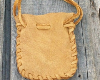 Small leather pouch , Leather pouch , Crystal bag , Fetish bag , Drawstring medicine bag