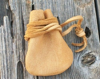 Leather medicine bag , Leather necklace bag, Leather crystal bag, Drawstring neck bag . Leather neck pouch