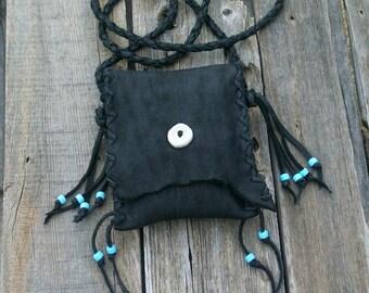 Black leather handbag , Leather phone bag ,  Black leather purse , Leather handbag