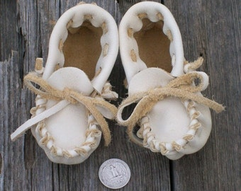 Handmade leather baby shoes ,  Soft baby shoes ,  Soft sole shoes ,  Buckskin moccasins ,  Baby slippers