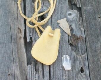 Leather neck pouch , Buckskin medicine bag, Crystal bag, Amulet bag, Leather necklace bag, Small leather medicine bag
