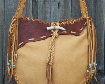 Fringed leather handbag ,  Possibles bag ,  Large leather tote