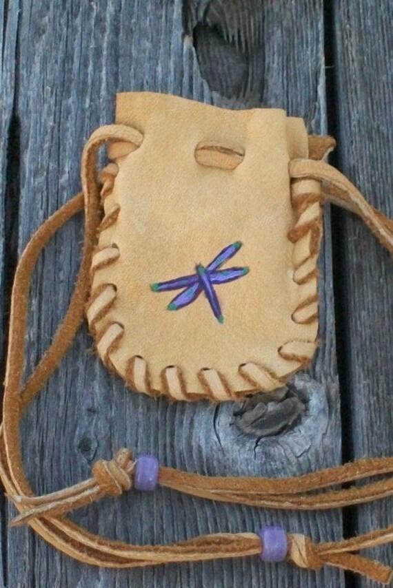 Leather medicine bag Dragonfly medince pouch