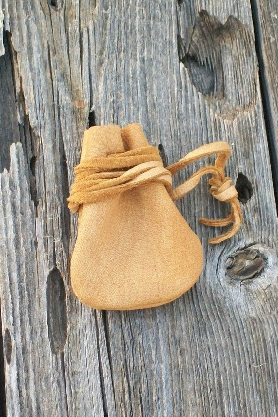 Leather medicine bag , Tribal medicine pouch ,  Buckskin leather neck pouch