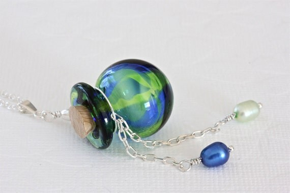 Green Aromatherapy Bottle Necklace with Sterling Silver Chain, Murano Glass Jewelry