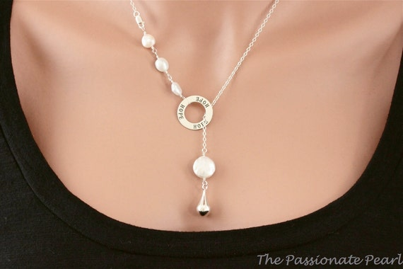 HOPE, Lariat Necklace, Freshwater White Pearl Necklace, Christian Jewelry, Sterling Silver Jewelry