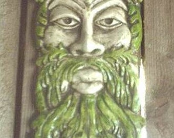 Long Greenman Gothic Wall Plaque Celtic Leafman Hanging Tree Wood Spirit Home Garden Decoration Pagan Nature Green Fantasy Leaf Face Decor