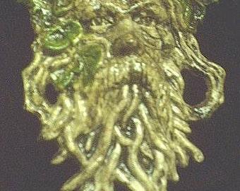 Greenman Tree Branch Gothic Wall Hanging Celtic Leafman Brown Green Renaissance Forest Twig Spirit Plaque Fantasy Woodland Home Garden Decor