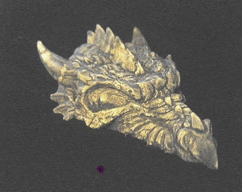 Small Dragon Skull Statue Fantasy Medieval Renaissance Bone Mystical Creature Beast Fossil Brown Mini Skeleton Horn Head Home Garden Decor