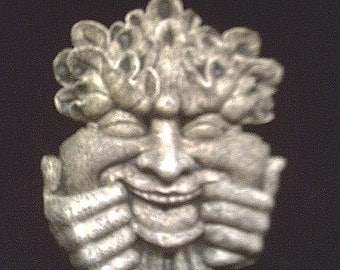 Grinning Greenman Mischievous Smiling Leafman Pagan Celtic Wall Hanging Medieval Fantasy Whimsical Funny Smile Face Home Garden Patio Decor