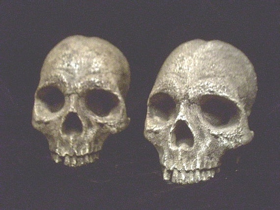 Aged Human Half Skull Pair Hanging Gothic Halloween Wall Prop Set of 2 Macabre Horror Pirate Bone Decoration Medieval Graveyard Plaque Pair