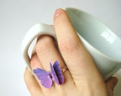Ombre Jewelry - Plum Purple Jewelry - Ombre Ring - Purple Ring - Purple Butterfly Ring - Butterfly Wing Ring