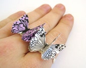 Hot Pink And Zebra Print Butterfly Pink Zebra Rings Matching Double Rings