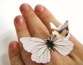 Large White Statement Ring Wedding Woodland Paper Leaf Print Butterfly