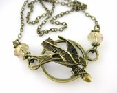 Bow and Arrow Necklace - Bird Jewelry Woodland Necklace Tribal Jewelry