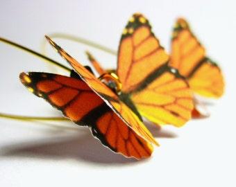 Monarch Butterfly Earrings - Monarch Jewelry Kidney Wire Earrings