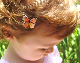 Girls Hair Clip - Little Girls Hair Accessories Monarch Butterfly HairClips