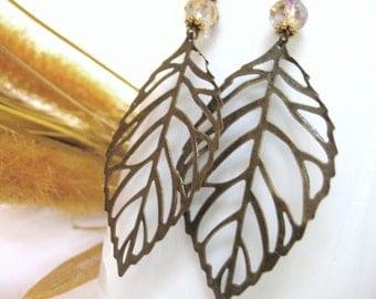 Autumn Jewelry - Bronze Gold Leaf Earrings - Autumn Equinox - Novemeber Birthstone Earrings - Topaz Birthstone