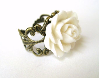 White Flower Ring - French Provincial Jewelry - White Ring - Antique Filigree Ring - Victorian Romantic Clothing Accessory