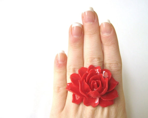 Large Ring - Rockabilly Wedding Jewelry - Huge Ring - Red Ring - Flower Jewelry - Red Rose Ring - Big Ring - Statement Ring - Cocktail Ring
