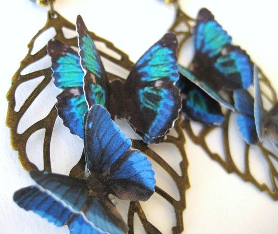 Dangle Butterfly Leaf Earrings