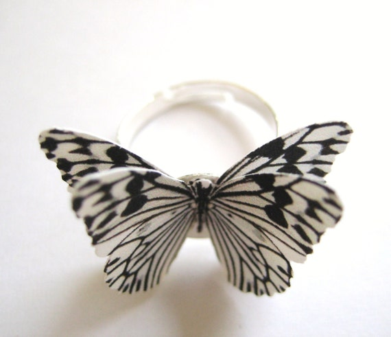 Zebra Print Jewelry - Black And White Stripe Butterfly Ring