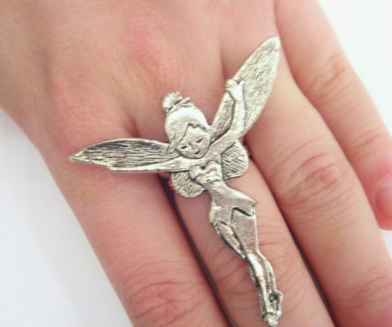 Tinkerbell Charm Bracelet: Silver Tinkerbell Jewelry Tinkerbell Ring Disney Ring Women
