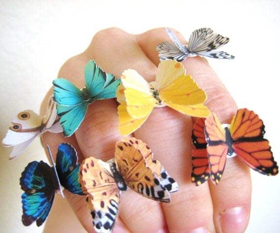 PICK 2 Butterfly Rings - Colorful Jewelry - Silver Statement Rings - 3D Butterfly Jewelry