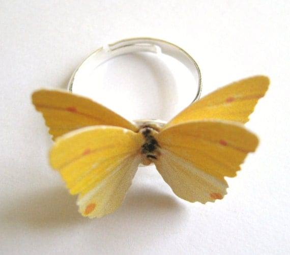 Ecofriendly Jewelry - Paper Ring - Eco Friendly Ring - Novelty Ring - Unique Ring For Her - Yellow Butterfly Ring -