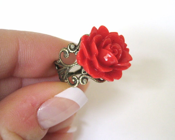 Bright Red Rose Ring Flower Resin Ring Antique Bronze Filigree Adjustable Ring Red Rose
