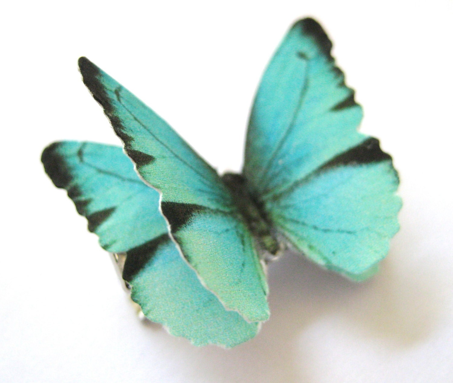 Aqua Teal Hair Accessory Butterfly Wedding Tiffany Blue