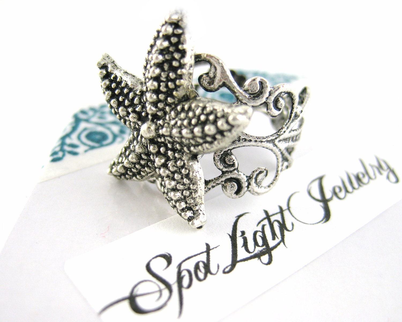 silver starfish ring starfish jewelry by spotlightjewelry