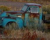 Old Rusty Blue Chevy Pickup cold frosty morning fine art glicee photo 8x12