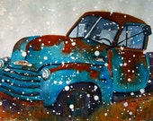 2 Old Chevy Trucks winter snowy spring summer green giclee watercolor prints - Two prints save money