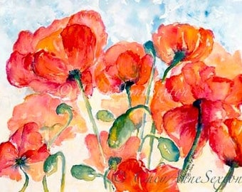 Tangerine Tango Salmon Orange Poppy Field - Watercolor Giclee - beautiful and bold 10x14 giclee print