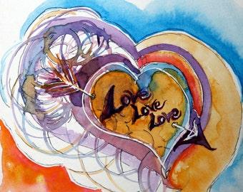 ORIGINAL love lOVE Love arrow note LOVE heart -  Cupid's Arrow of Love - watercolor art - one of a kind - valentine's decor