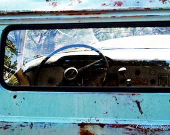 Old Chevrolet Apache Thru the Back Window - Old Farm Truck cab window - Teal Chevy steering wheel