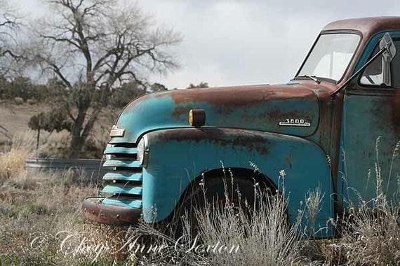 Old 1952 Chevy Truck Aqua Pickup Turquoise Blue Farm Truck
