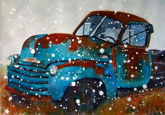 2 Old Chevy Trucks Watercolor paintings winter snowy spring