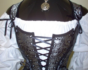 Gray and Black Skulls Pirate Renaissance Steampunk Bodice Corset. Different Fabrics Available.
