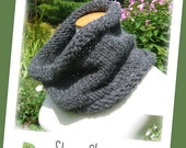 Knit Cowl - Bulky Alpaca Yarn in Charcoal Grey Stormy Skies - Cozy Warm Neckwarmer Hand Knit for Fall / Winter