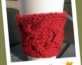 Coffee Sleeve - Hand Knit Country Red Cabled Coffee Mug Cozy