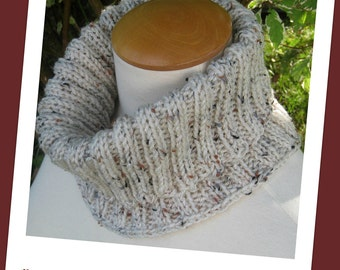 Cozy Knit Cowl - Ribbed Turtleneck Oatmeal Tweed Hand Knit for a Winter's Day