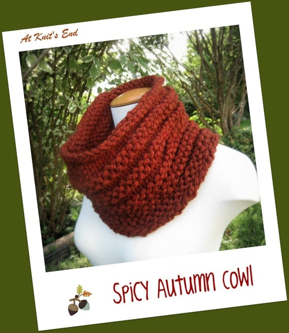 Chunky Hand Knit Cowl - in Spicy Autumn - Cozy Warm Neckwarmer for Winter