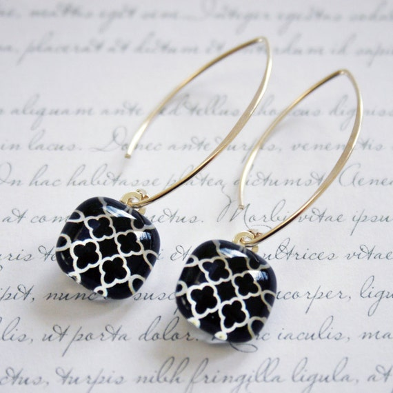 Quatrefoil - Elegant glass earrings with sterling silver marquise style ear wires